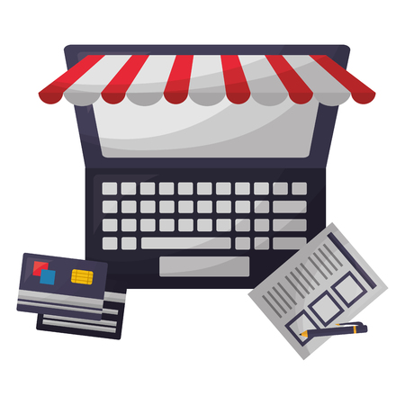 laptop computer bank cards document pen buy online vector illustration