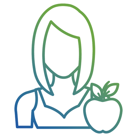 young woman with apple character vector illustration design Vettoriali
