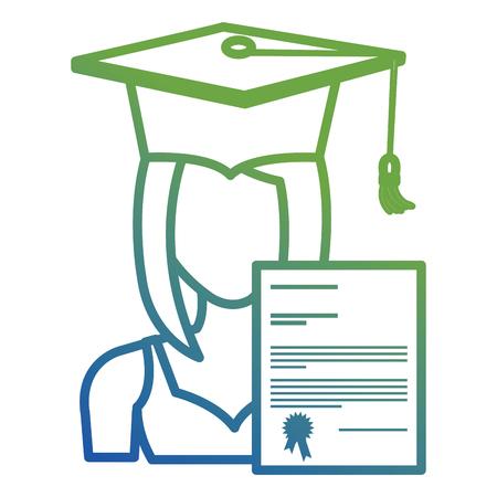 woman student graduation with diploma vector illustration design