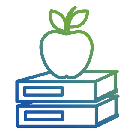 text books school with apple vector illustration design