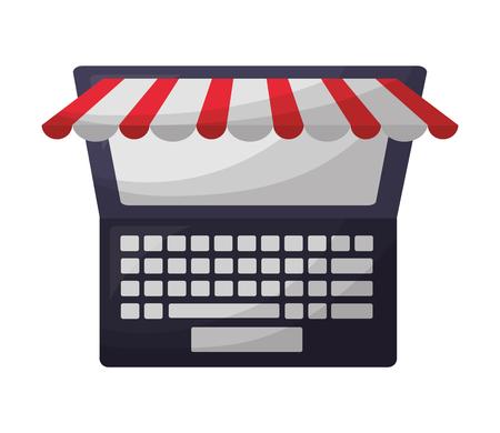 laptop computer technology ecommerce online buy vector illustration