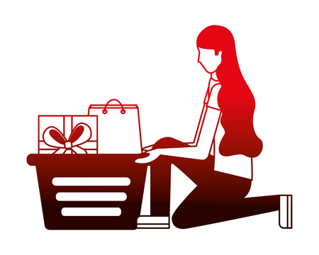 woman on her knees with shopping basket gift bag vector illustration neon red Stock Vector - 112065284