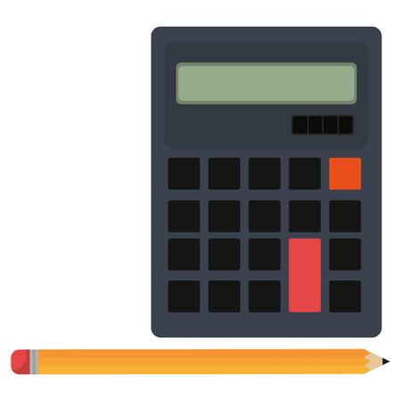 calculator math with pencil vector illustration design