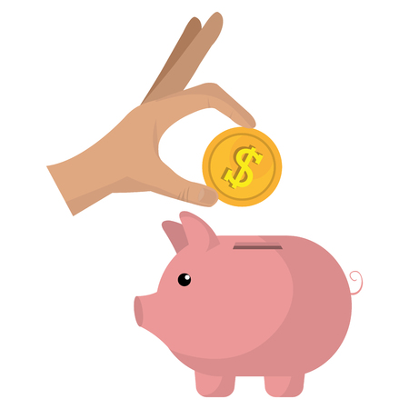 hand with coin and piggy vector illustration design