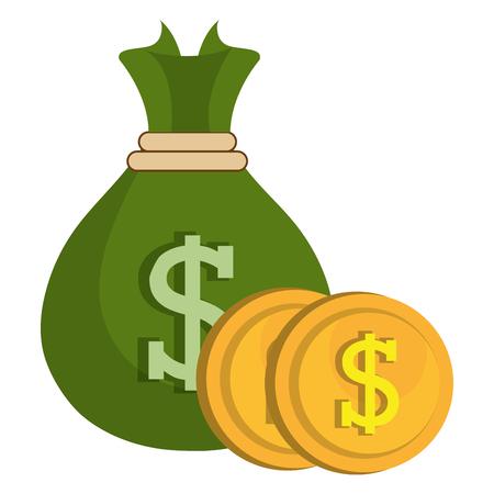 sac d'argent avec des pièces vector illustration design