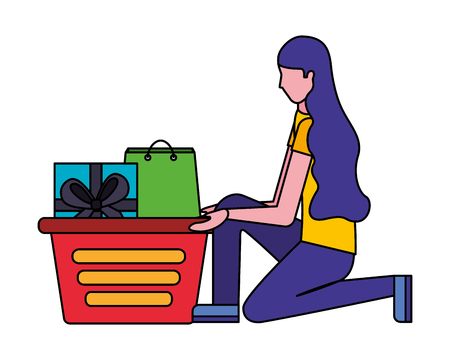 woman on her knees with shopping basket gift bag vector illustration Stock Vector - 112066692