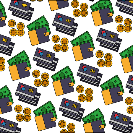 wallet banknote credit card coins currency pattern vector illustration Illustration