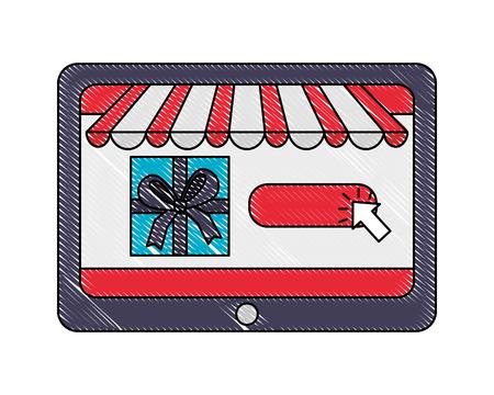 tablet gift box clicking buy online vector illustration