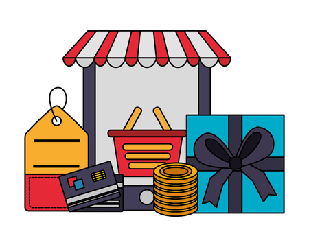 smartphone shopping basket gift price tag bank card coins buy online vector illustration