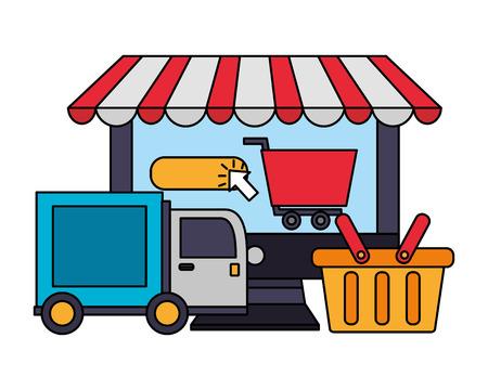 computer shopping cart delivery truck basket click buy online vector illustration Illustration