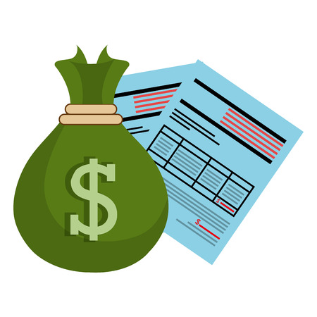 financial documents with sack money vector illustration design