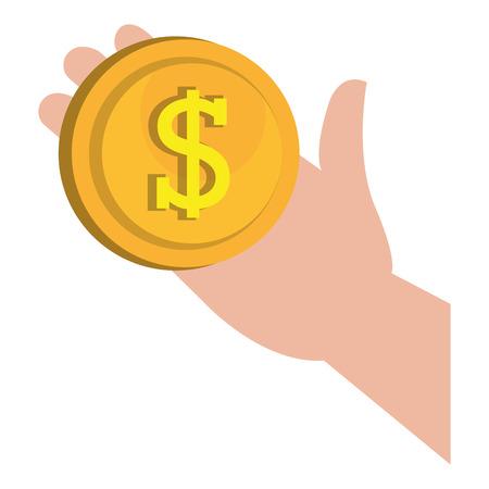 hand with coin money vector illustration design Ilustração