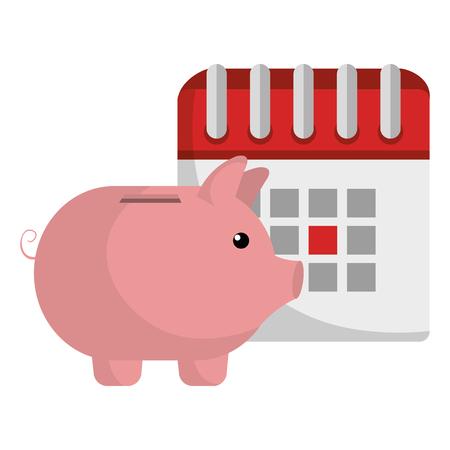 calendar reminder with piggy savings vector illustration design Ilustracja