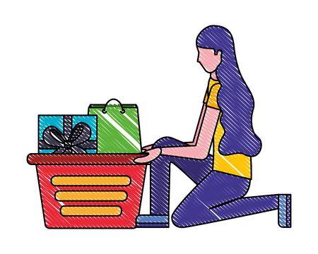 Frau auf den Knien mit Einkaufskorb-Geschenktüte-Vektorillustration