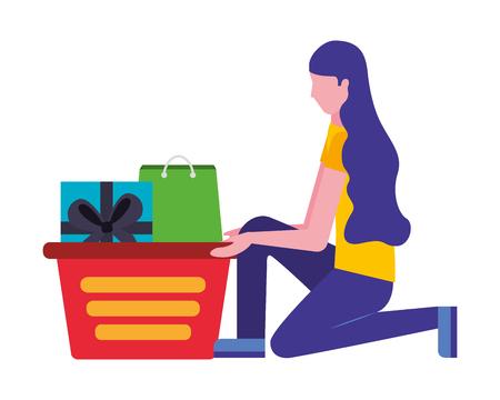 Mujer de rodillas con la ilustración de vector de bolsa de regalo de cesta de compras Ilustración de vector
