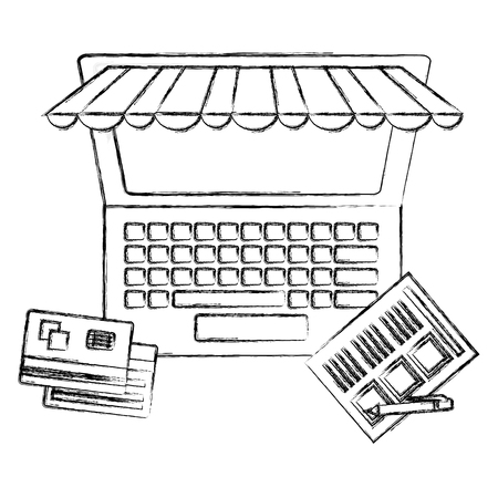 laptop computer bank cards document pen buy online vector illustration hand drawing
