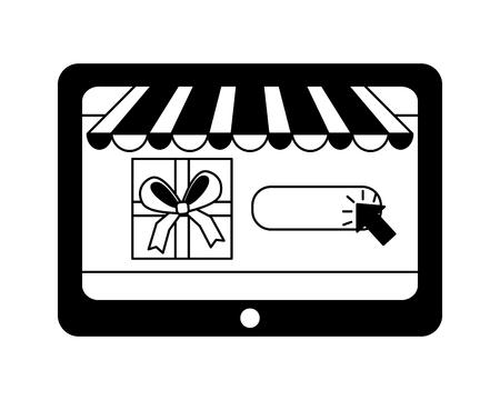tablet gift box clicking buy online vector illustration monochrome  イラスト・ベクター素材