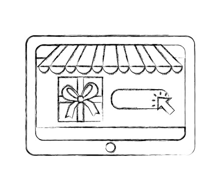 tablet gift box clicking buy online vector illustration hand drawing  イラスト・ベクター素材