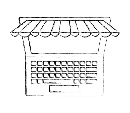 laptop computer technology ecommerce online buy vector illustration hand drawing