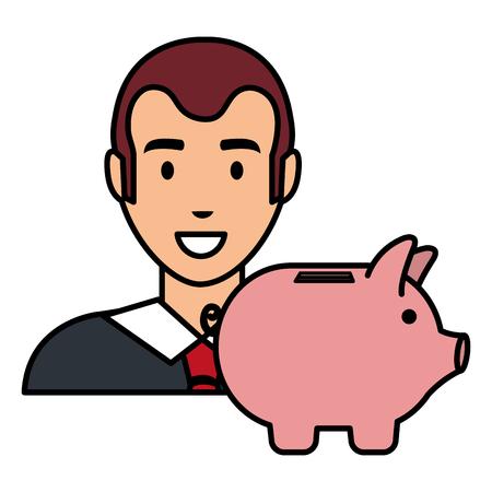 businessman with piggy savings vector illustration design