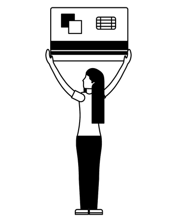 woman back view holding big credit card bank vector illustration monochrome