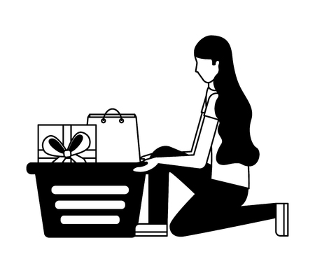 woman on her knees with shopping basket gift bag vector illustration monochrome