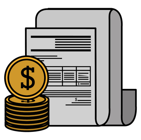 financial documents with coins vector illustration design Stock Vector - 112066774