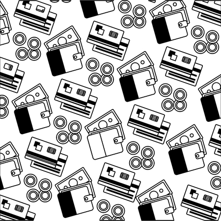 wallet banknote credit card coins currency pattern vector illustration monochrome Illustration