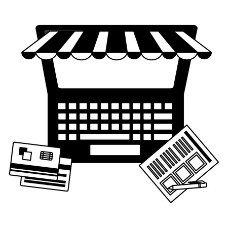 laptop computer bank cards document pen buy online vector illustration monochrome