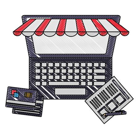 laptop computer bank cards document pen buy online vector illustration