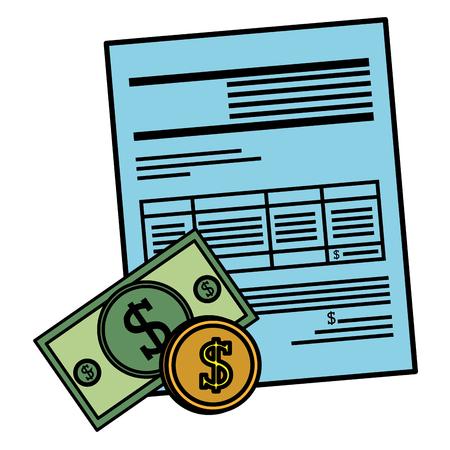 bills and coins dollars with document vector illustration design Ilustração