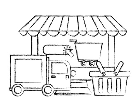 computer shopping cart delivery truck basket click buy online vector illustration hand drawing