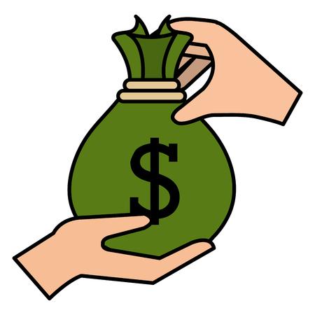 hand with money bag vector illustration design