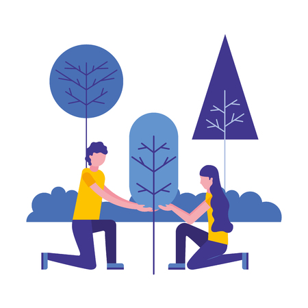 couple with landscape and tree plant isolated vector illustration design