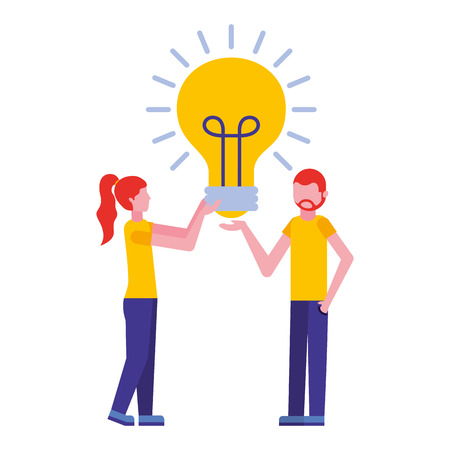 young couple with light bulb isolated icon vector illustration design Çizim