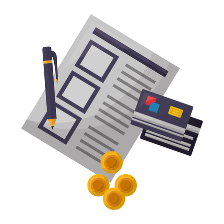 document file with credit card and objects vector illustration design Illustration