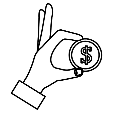 hand with coin money vector illustration design Ilustração