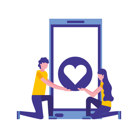 couple with smartphone and heart isolated icon vector illustration design Banque d'images - 112066853