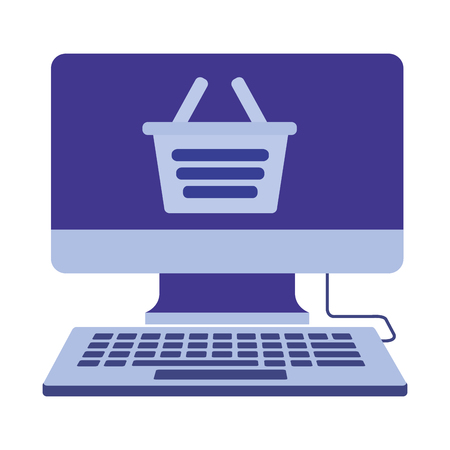 desktop computer with basket shopping isolated icon vector illustration design
