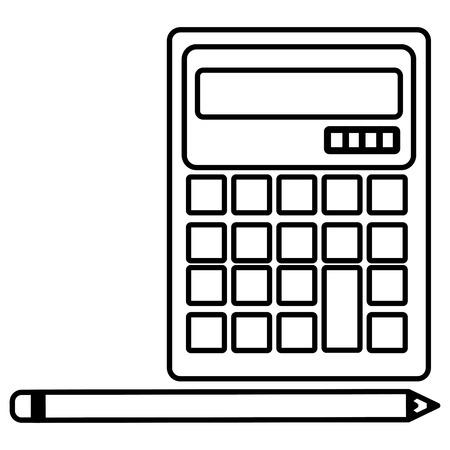 calculator math with pencil vector illustration design