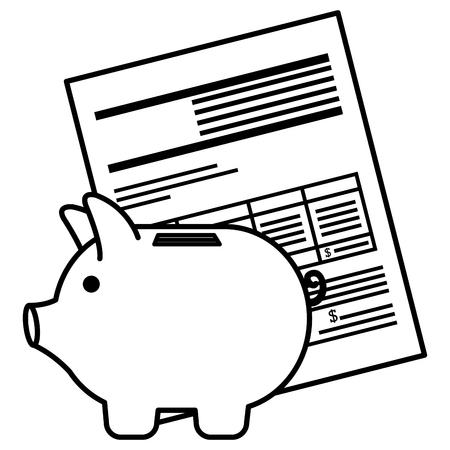 financial documents with piggy savings vector illustration design Illustration