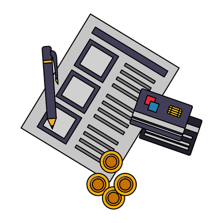 document file with credit card and objects vector illustration design Imagens - 112066881