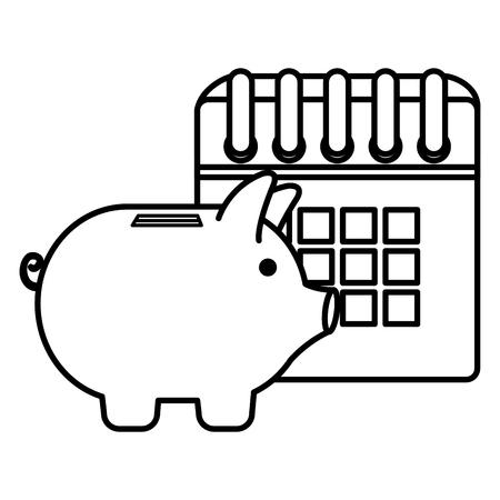 calendar reminder with piggy savings vector illustration design Vectores