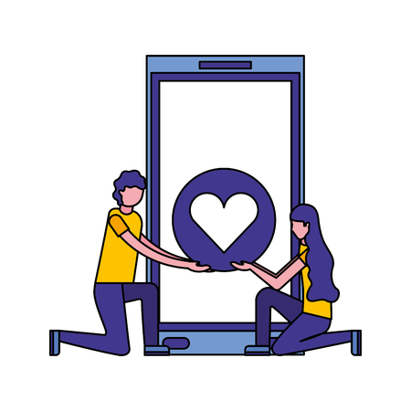 couple with smartphone and heart isolated icon vector illustration design Banque d'images - 112066904