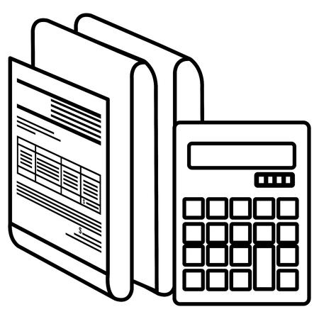 calculator math with documents vector illustration design