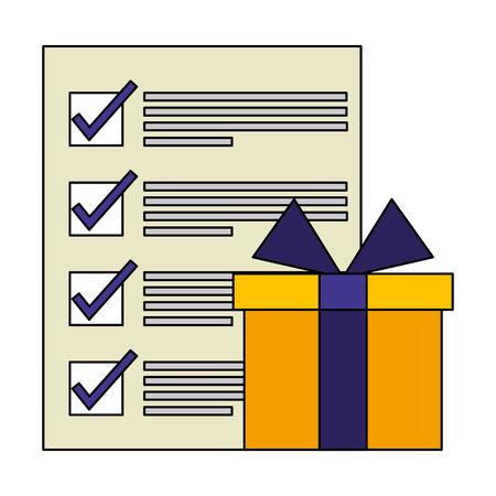 gift box present with document icon vector illustration design