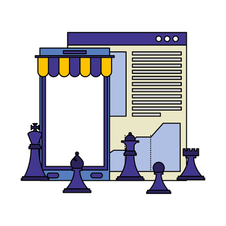 smartphone with parasol and chess pieces vector illustration design
