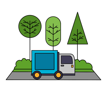 delivery truck with landscape nature isolated icon vector illustration design