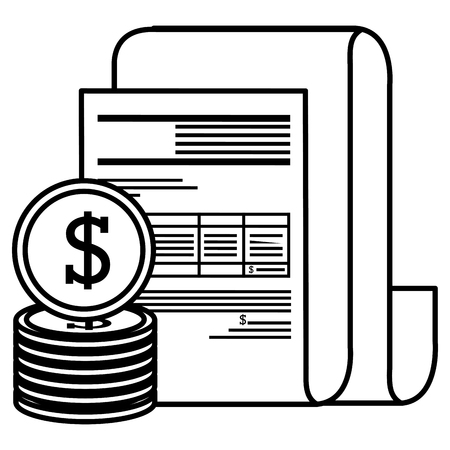 financial documents with coins vector illustration design Stock Vector - 112066923