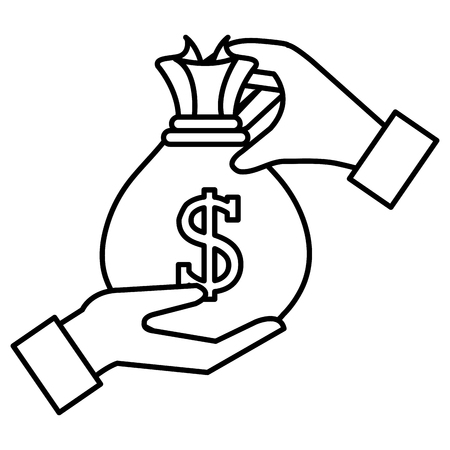 hand with money bag vector illustration design